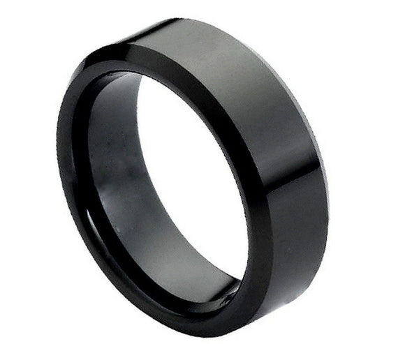 Tungsten 8mm High Polished Black Ion Plated with Beveled Edges