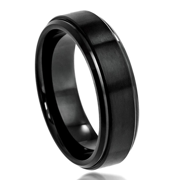 Tungsten 6mm Black Ion Plated Brushed/Stepped Center and Polished Edges