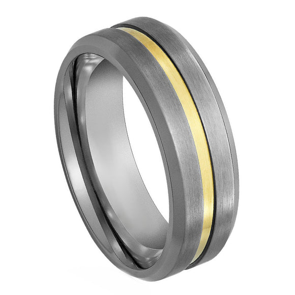Tungsten 7mm Brushed with Yellow Gold Tone Grooved Center