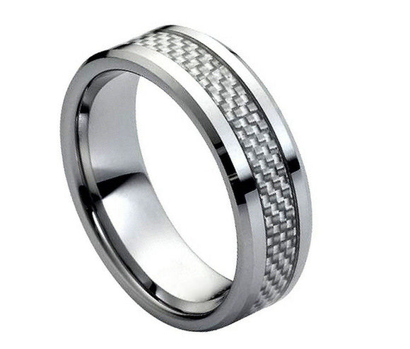 Tungsten 8mm Grey Carbon Fiber Inlay Ring with Beveled Edges