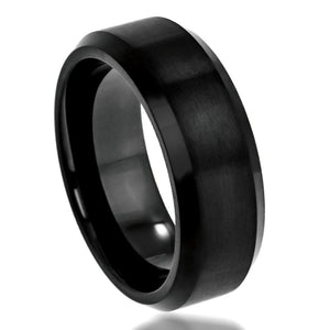 Tungsten 8mm Flat Brushed Black Ion Plated with Beveled Edges