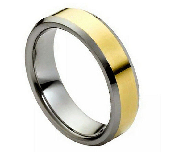 Tungsten 6mm Polished Gold Plated Center with Low Beveled Edges