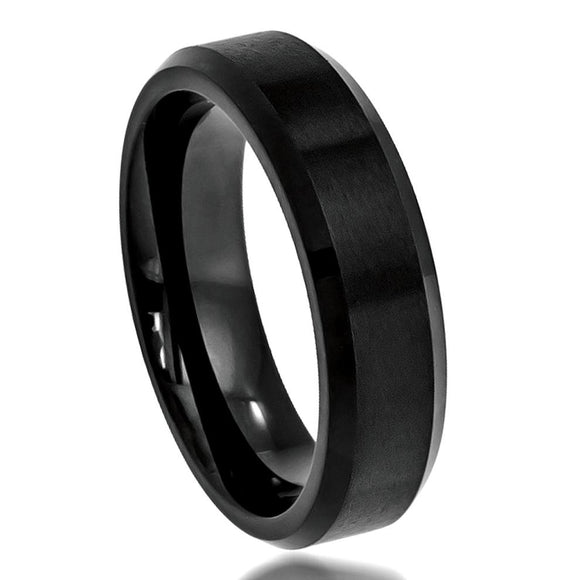 Tungsten 6mm Black Ion Plated Brushed Center with Polished/Beveled Edges