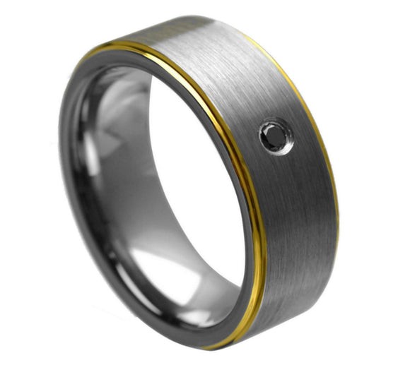 Mens Tungsten Ring with Black Diamonds  Gold Tungsten Ring