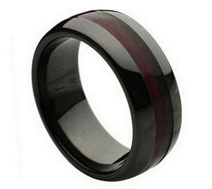 Black Ceramic Wedding Ring with Wood Inlay