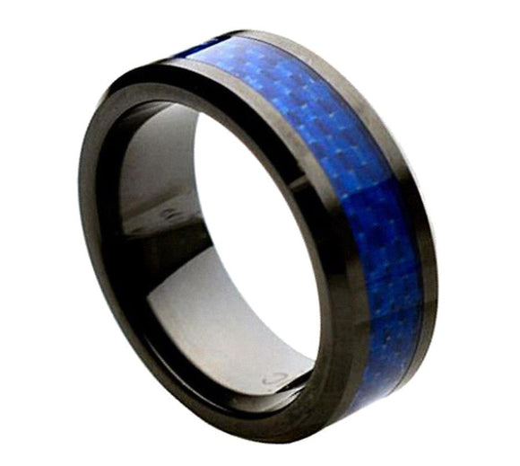Black Ceramic Ring with Blue Carbon Fiber Inlay Wedding Ring Band
