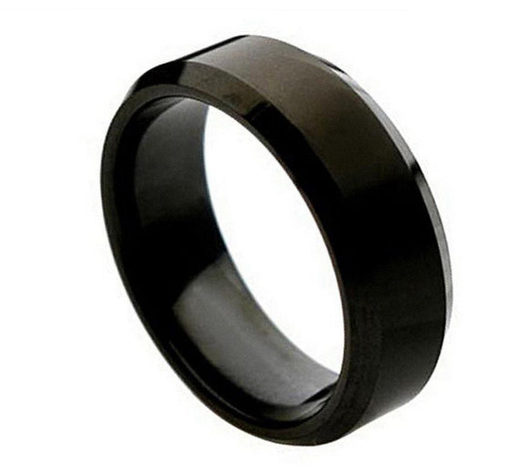 Titanium 8mm Black Ion Plated Brushed Center and Beveled Edges