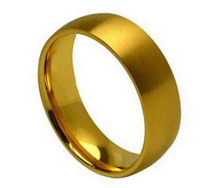 Titanium 7mm Yellow Gold Ion Plated Ring in a Classic Low Domed Design