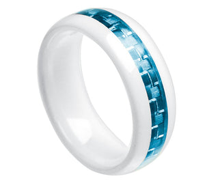 white ceramic domed wedding ring with aquamarine carbon fiber inlay