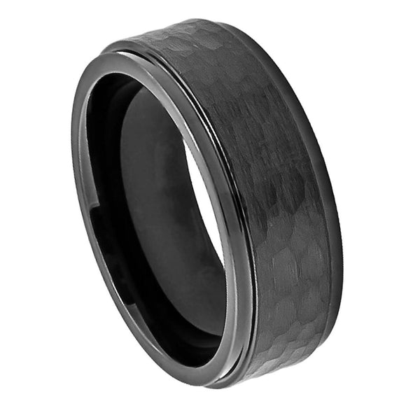 Cobalt 8mm Black Ion Plated with Hammered Center and Stepped Edges