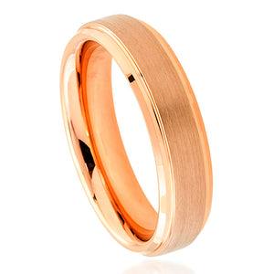 Tungsten 6mm Rose Gold Ion Plated with Flat Brushed Center and Stepped/Polished Edges