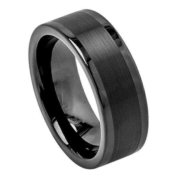Tungsten 8mm Flat Cut Black Ion Plated with Brushed Center and Flat/Polished Edges