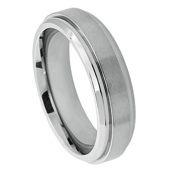 Titanium 6mm Brushed Center Ring with Stepped Edge