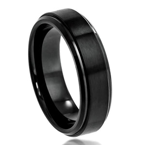 Cobalt 6mm Black Ion Plated with Brushed Center and Polished and Stepped edges