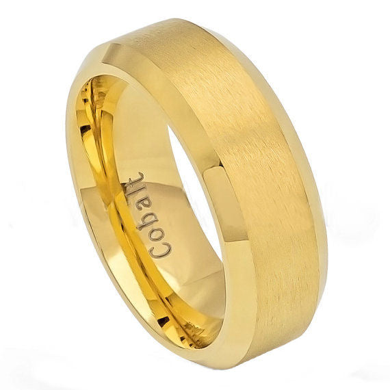 Cobalt 8mm Gold Ion Plated with Brushed Center and Polished/Beveled Edges