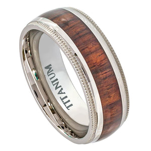 Titanium 8mm Domed Milgrain Edge Ring with Hawaiian Koa Wood Inlay