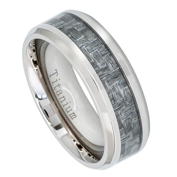 Titanium 8mm Beveled Edge Ring with Charcoal Grey Carbon Fiber Inlay