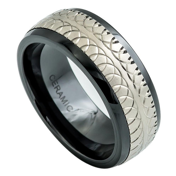 Black Ceramic 8mm Domed Ring with Carved Overlapping Semi-Circle Design