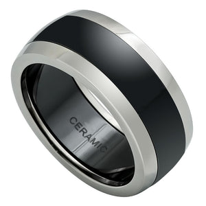 Silver & Black Raiders Ring Black Ceramic and Stainless Steel Ring NFL Ring