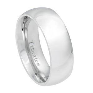 Titanium 8mm White Classic Domed Ring Classic Domed Wedding Band