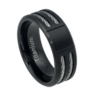 Titanium 8mm Black Ion Plated Ring with Beveled Edge and Double Cable Rope Inlay