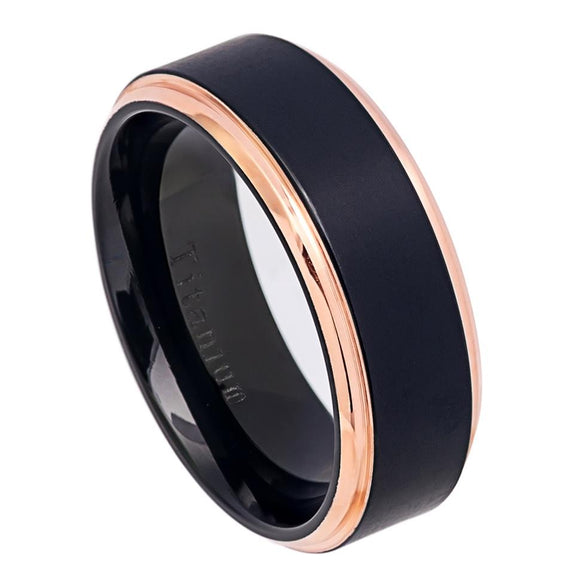 Titanium 8mm Black Ion Plated Brushed Center Ring with Rose Gold Ion Plated Stepped High Polished Edges