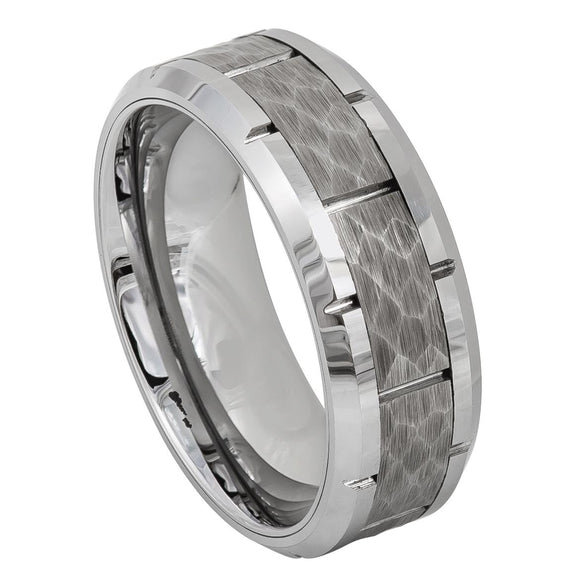 Tungsten 8mm Hammered and Notched Center with Polished/Beveled Edges