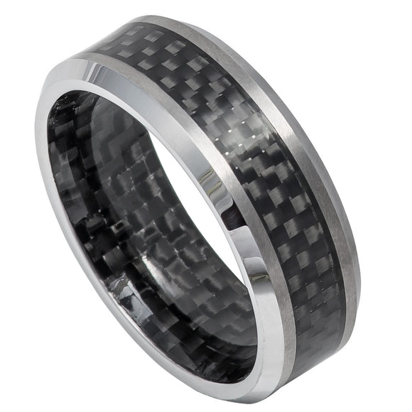 Tungsten 8mm Black Carbon Fiber Inlay Outer/Inner and High Polished Beveled Edges