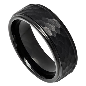 Tungsten 8mm Black Ion Plated Hammered Center with Stepped Edge Wedding Band Ring