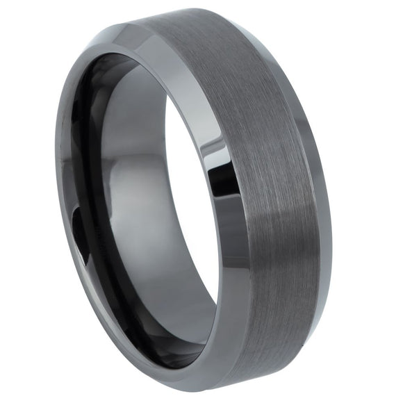 Tungsten 8mm beveled edge brushed center gunmetal ring