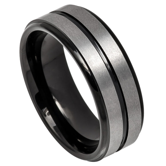 Tungsten 8mm Two Tone Black Ion Plated Center with a Grooved/Brushed Finish and Stepped Edges