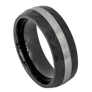 Tungsten 8mm Black Ion Plated with Hammered Sides and Brushed Striped Center