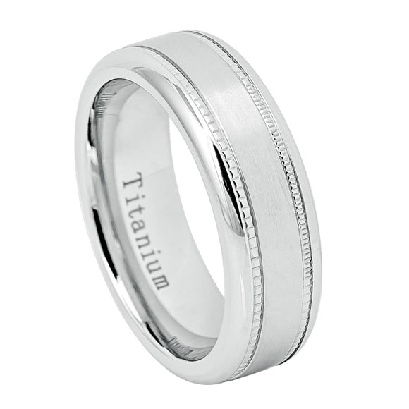 Titanium White Classic Wedding Ring with Milgrain Edges - 7mm