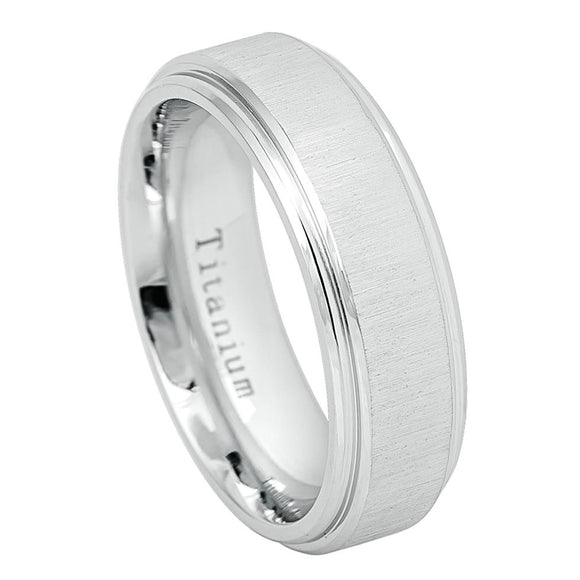 Titanium 7mm Classic White Ring with Horizontal Brushed Center and Stepped Edge