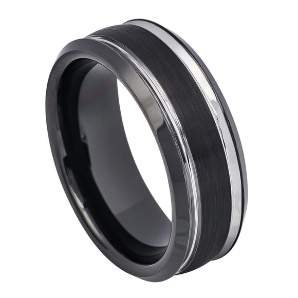 Tungsten 8mm Two Tone Black Ion Plated with Steel Colored Brushed Center and Stepped Edges