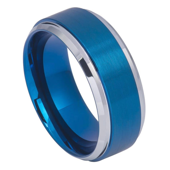 Tungsten 9mm Blue Ion Plated Brushed Center with High Polished Stepped/Beveled Edges