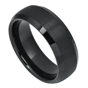 Tungsten 8mm Dome Cut Black Ion Plated with Brushed Center and Polished/Beveled Edges