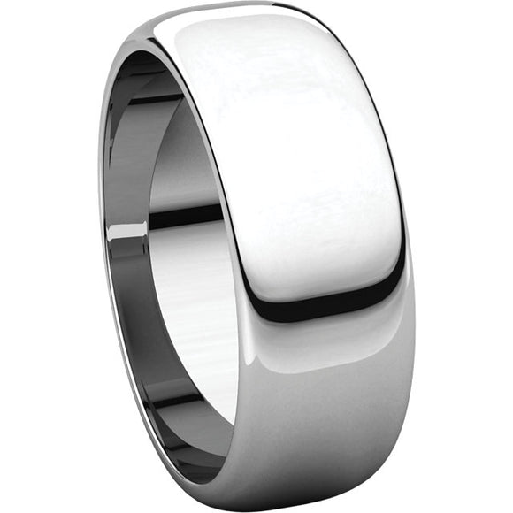 Titanium 7mm Classic Domed High Polished Ring half round