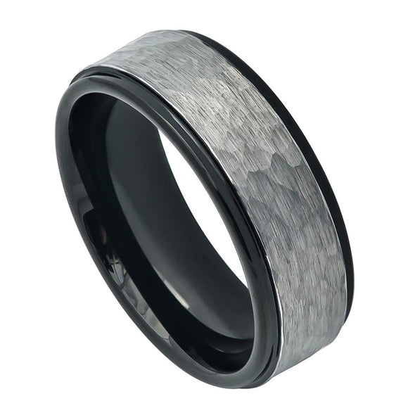 Tungsten 8mm Two-Tone Hammered Gunmetal Brushed Finish with Black Ion Plated Inner/Stepped Ring