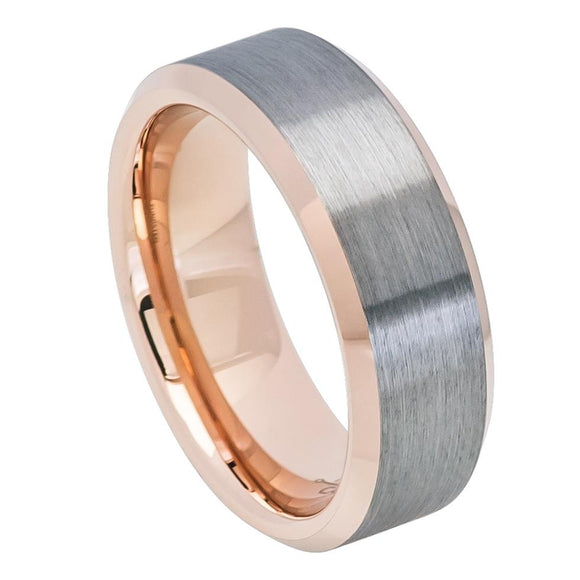 8mm Tungsten Brushed Gunmetal Center Rose Gold Sleeve Beveled Edge