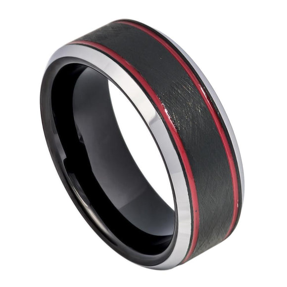 Tungsten 8mm Grey Ion Plated Two Red Stripes Beveled Edges Wedding Band Ring