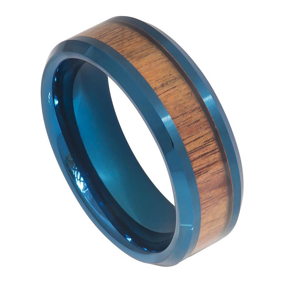 Tungsten 8mm Blue Ion Plated with Hawaiian Koa Wood Inlay and Beveled Edges