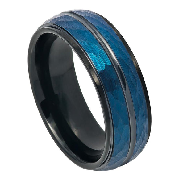 Tungsten 8mm Two Tone Blue and Black Ion Plated Hammered Finish with Polished Stepped/Beveled Edges