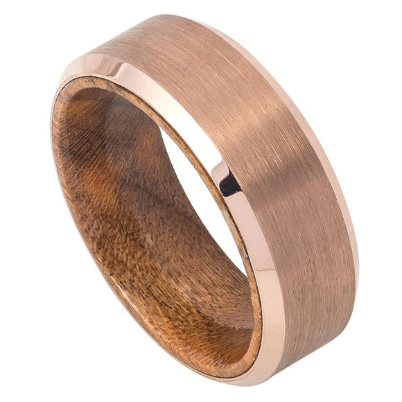 Rose Gold Ion Plated Brushed Finish and Polished Edges African Sapele Mahogany Wood Sleeve Tungsten Wedding Ring Band 8mm