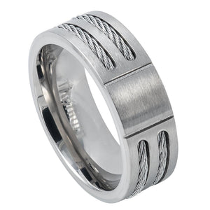 Titanium 8mm Beveled Edge Ring with Double Cable Rope Inlay