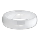 White Ivory Ceramic 5mm High Polished Classic Domed Ring