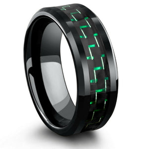 Black Ceramic Ring with Black and Green Carbon Fiber Inlay