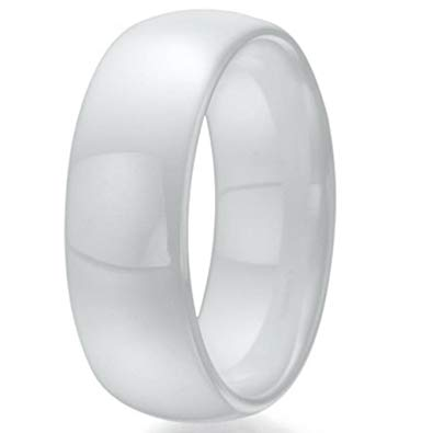 White Ceramic Ring Wedding Ring Band 7mm