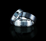 Tungsten 8mm Polished Beveled Edges with Blue Celtic Dragon Cut-Out Inlay