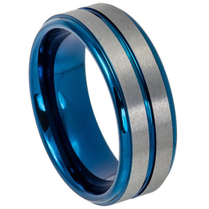 Tungsten 8mm Two Tone Blue & Gunmetal w/ Brushed Finish